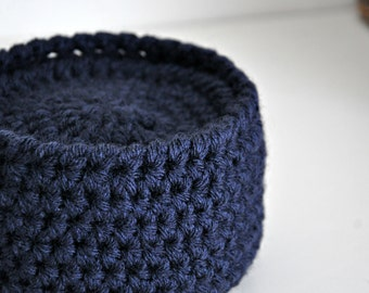 Navy Blue Coasters Modern Mug Rugs with Basket Home Decor Rustic Design Crocheted Accessories Custom Colors