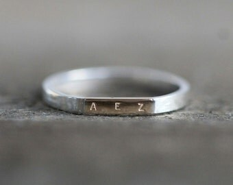 14K Gold and Sterling Silver Custom Initial Ring -  Horizontal Gold Initial Bar, Mixed metal ring - Pale Fish NY, R034