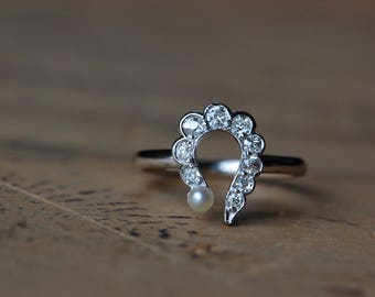 Antique old mine cut diamond question mark conversion ring with cultured pearl