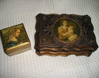 Vintage Religious Ornate PR.Italian Florentine Gilt Wood Virgin Mary/Madonna Rosary Boxes.