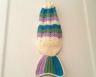 Mermaid Tail Tote Bag, Crochet Beach Bag, Mermaid Bag, Summer Purse, Crochet Market Bag