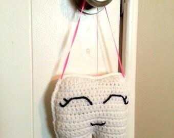 Tooth Fairy Pillow for Girls, Crochet Pillow, Pocket Pillow, Toothfairy Pillow, Kids Room Decor, Nursery Decor