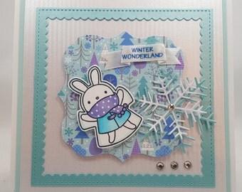Christmas Snow Angel Bunny - Blank NoteCard, Greetings Card, Handmade Card