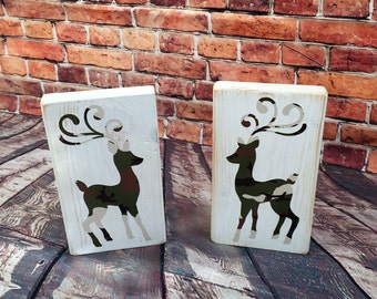 Camo Christmas Reindeer Set Distressed Sign  or with  Glitter holiday design