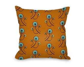 Mid century modern throw pillow cover, burnt orange, dandelions floral print, mcm, all cotton pillow cover with hidden zipper