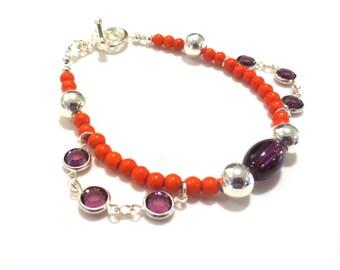 Deep Orange Bracelet, Gemstone Beads & Purple Glass Charms, Charm Bracelet, Silver Team Colors Bracelet