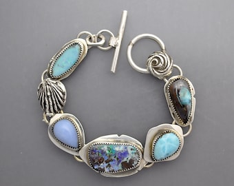 Opals with Larimar and Blue Chalcedony