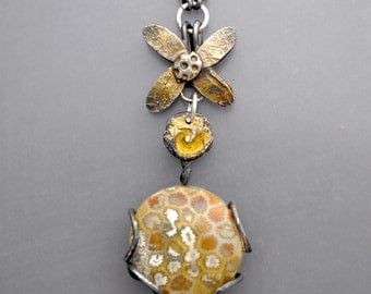 Fossil Coral Flower Necklace