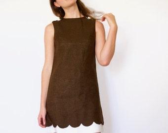 60s Cream Brown Scallop Illusion Hem A-Line Shift Tank Top Dress xs s