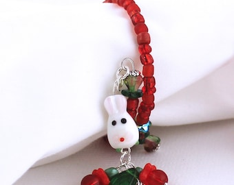 Festive Tabletop Decoration - Red and Green Beaded Rings for Napkins / Candle Holders, White Rabbit Bunny Bead, Set of Two or Four