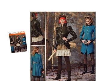 Misses Steampunk Costume Pattern, Steampunk Coat, Steampunk Jacket, Steampunk Bustle, Steampunk Ruffled Skirt Pattern, Simplicity 1299