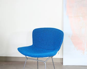 Knoll Chrome Bertoia Side Chair with Teal Blue Cover