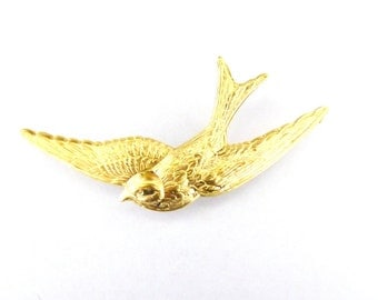 Gold Bird Brooch Swallow Lapel Pin Forest Animal Garden Vintage Style Inspired Rustic Woodland Wedding Accessories Wife Womens Gift For Her
