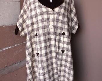 RARE Vintage 1950's Swing Coat // 50s 60s Brown Checkered Plaid Tweed Wool Don Loper Designer Dress Coat with Velvet Trim // DIVINE