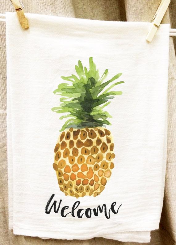 Pineapple Welcome Kitchen Towel, Tea Towel, Flour Sack Towel, Fruit Towel, Hospitality, Graphic Towel, Housewarming