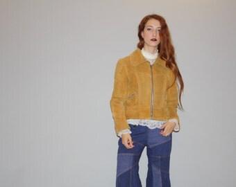 Vintage 1960s Honey Mustard Tan Golden  Suede Coat - Vintage 60s Suede Coats - Brown Suede Coat - WO0720