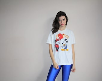 Vintage 90s Mickey Mouse and Minnie Mouse Love T Shirt - Vintage 1990s Mickey Mouse Top  - Vintage Mickey Mouse Tops - W00595