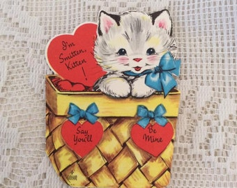 Vintage 1950s Valentine Card Kitten Kitty Cat In A Basket Collectible Paper Ephemera Arts Crafts Scrap Booking