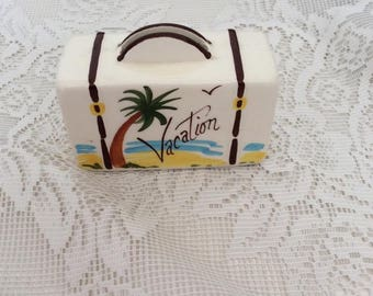 Vintage 1950s Ceramic Suitcase Bank By Dacora Ceramics Kitschy Decor For Vacation Money