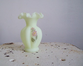 Vintage Fenton custard satin vase hand painted pink flowers double crimped petite vase