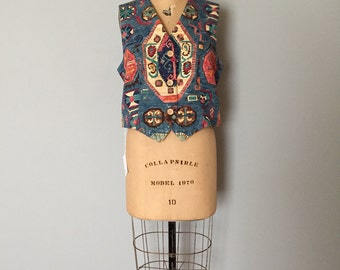 ornament denim vest | Portland Oregon crop denim vest