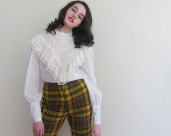 Vintage 1960s Plaid Wool Shorts Bobbie Brooks / 60s High Waisted Mustard Yellow Fitted Shorts / Small