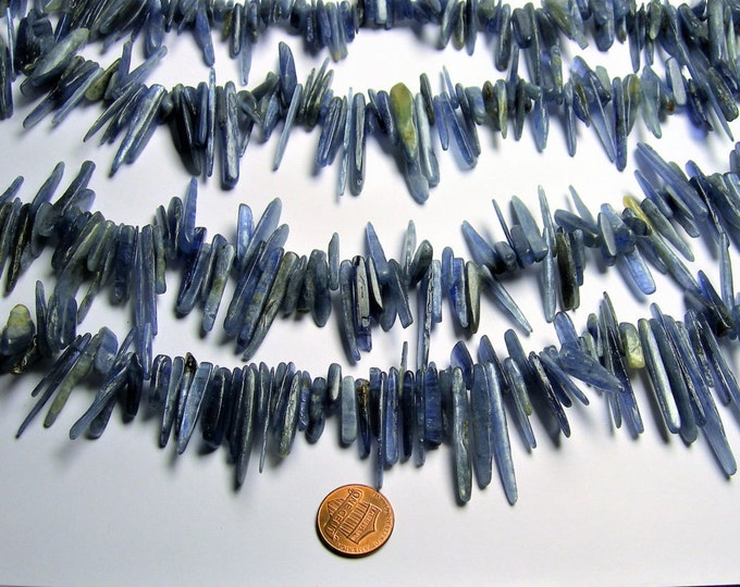 Kyanite - stick points  beads  - full strand - A quality - Blue Kyanite - PSC307