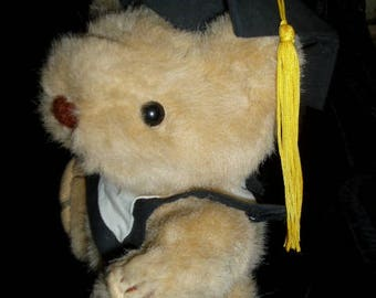 "1985 GORHAM Graduation Plush Jointed Bear 8"" Congratulations Gift"