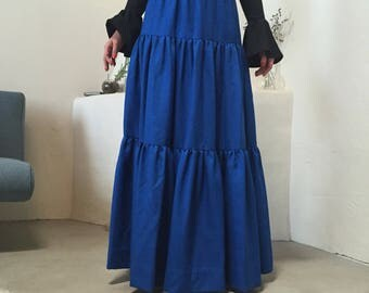 Tiered Blue Maxi | 70s vintage high waist and ultra long maxi skirt ruffled tiered Flamenco southwestern small S medium M boho folk hippie L