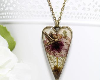 Real Flower Nature Jewelry - Pink Botanical Hummingbird Necklace - Dried Flower Heart Necklace - Unique Gifts for Women