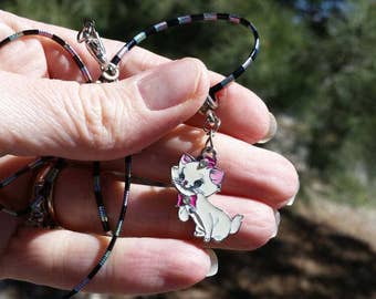 Pink Marie Cat from Aristocats Charm Necklace - 18 inch necklace