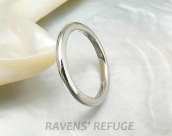2mm high dome wedding band / stacking ring in platinum 950