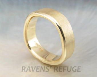 men's ergonomic wedding band -- 7mm wedding ring for men, finger-shaped, soft square