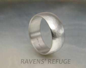 rustic platinum band -- 8mm low dome textured wedding ring