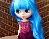 Pink and Purple Blythe Lace Dress, Purple Blythe Doll Dress, Pink Crochet Lace Dress for Blythe Dolls, Crochet Lace Doll Dress, Blythe Dress