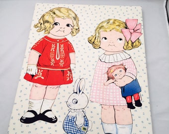 Dolly Dingle Fabric Wall Art, Fabric Paper Dolls, Framed Canvas, Dolly Dingle And Friends