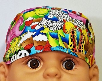 Baby Animals Chemo Cap or Skull Cap, Handmade, Alopecia, Head Wrap, Hats, Hair Loss, Bald, Helmet Liner, Do Rag, Zoo, Children, Cancer, Caps