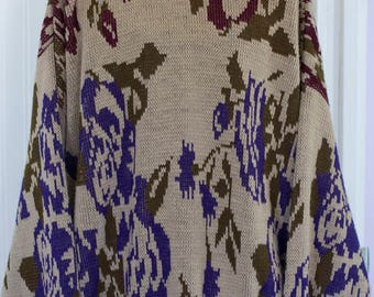 Mans Vintage Sweater, 1980's 80s Mens Fashion, Size XL Extra Large, Tan Beige Abstract Sweater , Pull Over Purple Green
