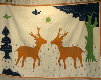 Vintage folk art deer and birds in forest animal landscape scene handmade tapestry