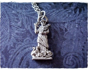 Silver St Francis of Assisi Necklace - Antique Pewter St Francis of Assisi Charm on a Delicate Silver Plated Cable Chain or Charm Only
