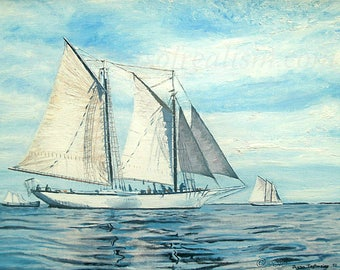 Art print of a fine clipper ship skirting the Atlantic coast- 8 x 10 matted OR 11 x 14 without mat