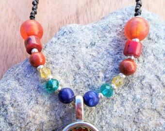 Rainbow Beaded Necklace, Rainbow Pendant Necklace, Rainbow Jewelry