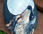 Reserved for CASSIE Howling WOLF Hand Painted Rocks Animal Totem Stones Wolf Medicine Rock Art Forest Animals Full MOON Gifts