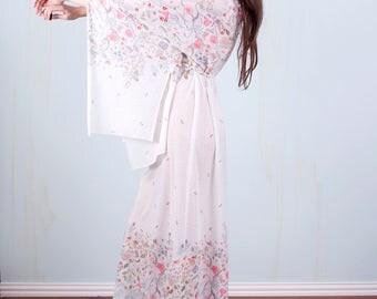 70's White Dress Bell Kimono Sleeve Floral Hippie Boho Maxi Wedding Festival