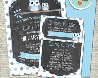 Owl Baby Shower Invitation, Owl Invitation, Owl, Blue, Gray, Polka Dots, Branch | Printed