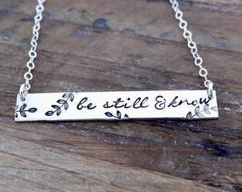 Be Still & Know Gold Bar Necklace. X-Large Bar Necklace. Be Still and Know. Christian Jewelry. Minimalist Simple Jewelry.