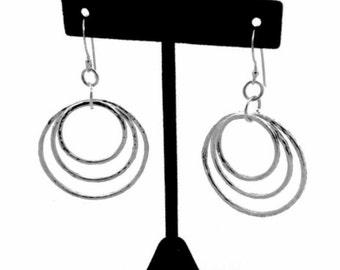 Triple Hoop Earrings - Sterling Triple Hoops - Hammered Hoop Dangles - Mother's Day Gift Idea - Handmade Triple Hoop Earrings