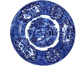 Flow Blue Transferware Plate Collectible Blue & White Plate Cottage Chic Decor