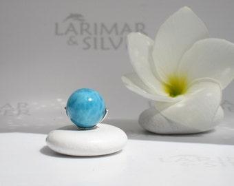 Larimarandsilver pendant, Mermaid Pearl 7 - ocean blue Larimar ball, blue pearl pendant, volcanic blue, sea blue, handmade Larimar pendant