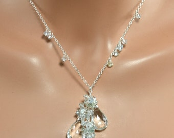 LP 1365 Faceted Blue Green Aquamarine Briolettes, Clusters of Aquamarine  Rondelles Sterling Silver Necklace